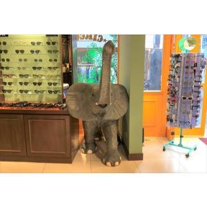 鼻を高く突き上げる子ゾウ FRPアニマルオブジェ 即納可|frps|04