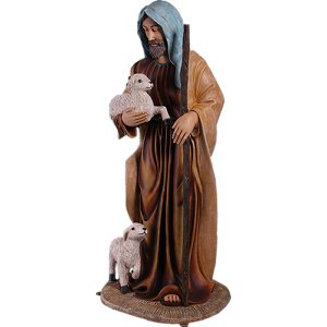 子ひつじと羊飼い・180cm FRPアニマルオブジェ|frps