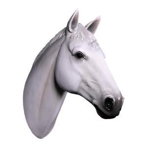 馬の頭部・壁掛け(白馬) FRPアニマルオブジェ|frps