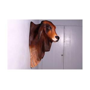 バラモン牛の頭部/壁掛け・ブラウン FRPアニマルオブジェ|frps|04