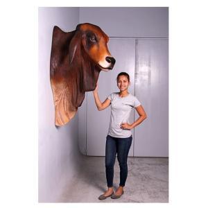 バラモン牛の頭部/壁掛け・ブラウン FRPアニマルオブジェ|frps|06