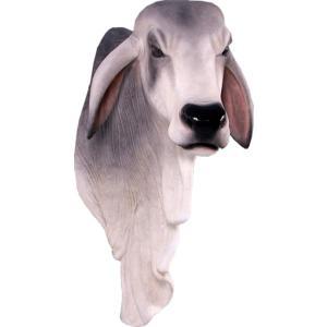 バラモン牛の頭部/壁掛け・グレー FRPアニマルオブジェ|frps