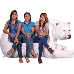 白クマのベンチ FRPアニマルオブジェ|frps