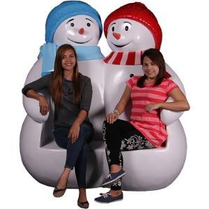 雪だるまのベンチ(ブルーとレッド) FRPオブジェ|frps