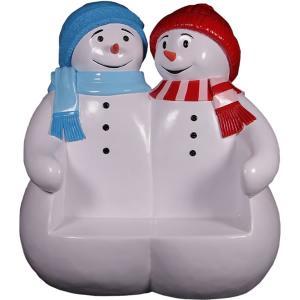 雪だるまのベンチ(ブルーとレッド) FRPオブジェ|frps|04
