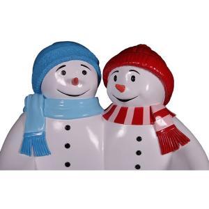 雪だるまのベンチ(ブルーとレッド) FRPオブジェ|frps|09