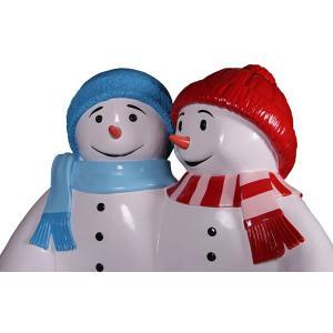 雪だるまのベンチ(ブルーとレッド) FRPオブジェ|frps|10