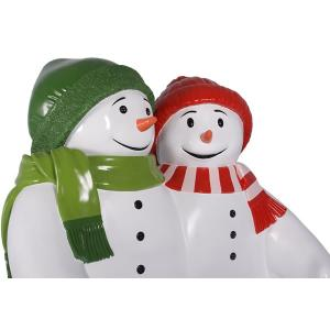 雪だるまのベンチ(グリーンとレッド) FRPオブジェ|frps|05
