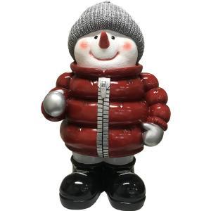 赤いダウンを着たスノーマン FRPオブジェ|frps