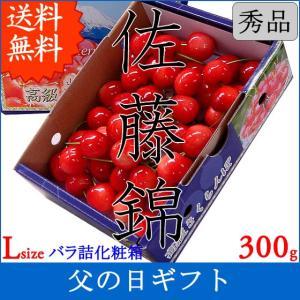 父の日 ギフト さくらんぼ サクランボ 佐藤錦 Lサイズ 300g バラ詰  送料無料 一部地域を除く|fruits-line