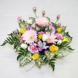 ピンク系フラワーアレンジメント 贈答用 メッセージカード付 (AR001_35)|fs-hanatomo