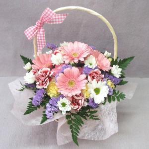 ピンク系フラワーアレンジメント 贈答用 メッセージカード付 (AR002_50)|fs-hanatomo