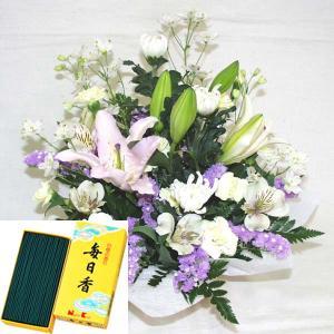 お線香(毎日香 徳用バラ詰)+仏事・命日・お彼岸用アレンジメント 立て札、メッセージカード付 (AR016_38)|fs-hanatomo