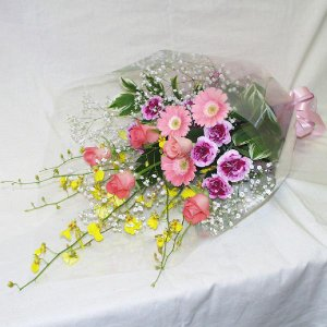 ピンク系 花束 贈答用 メッセージカード付 (HT018_45)|fs-hanatomo