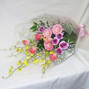 ピンク系 花束 贈答用 メッセージカード付 (HT018_50)|fs-hanatomo
