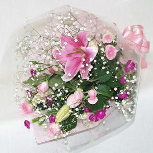 ピンク系 花束 贈答用 メッセージカード付 (HT019_45)|fs-hanatomo