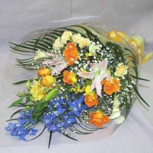 黄色系 花束 贈答用 メッセージカード付 (HT023_47)|fs-hanatomo