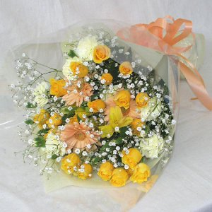 黄色系 花束 贈答用 メッセージカード付 (HT024_47)|fs-hanatomo