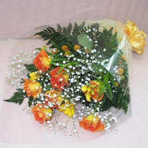 黄色系 花束 贈答用 メッセージカード付 (HT025_47)|fs-hanatomo