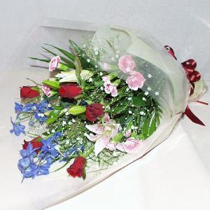 赤系 花束 贈答用 メッセージカード付 (HT034_50)|fs-hanatomo