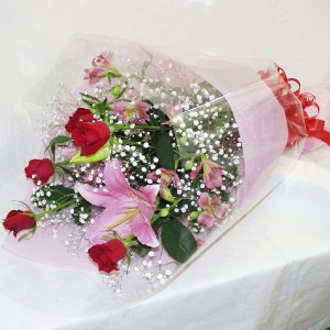 おまかせ花束 贈答用 メッセージカード、商品画像配信付き  (HTF01_40)|fs-hanatomo