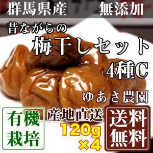 昔ながらの梅干しセット4種C 120g×4パック(群馬県 ゆあさ農園) 有機栽培 梅 無添加 天然塩...