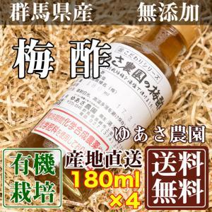 有機JAS梅酢「ヒマラヤ岩塩」使用 180ml×4本 (群馬県 ゆあさ農園)有機栽培 梅 無添加 送料無料 産地直送 fs21