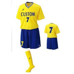 アシックスasics一般用サッカーユニフォームXS1138-XS1612-XSS096「半袖3点セット」5着以上マークサービス