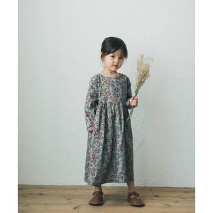 ボタニカルプリントワンピース 【グレー】 こども ワンピース 女の子 長袖 長袖 riziere リジェール 綿100% rz20awop05-gray|ftk-2