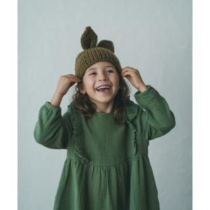 ラビットニットキャップ 【ブラウン】こども 帽子 ニット帽 ラビット うさぎ かわいい ニット キャップ|ftk-2