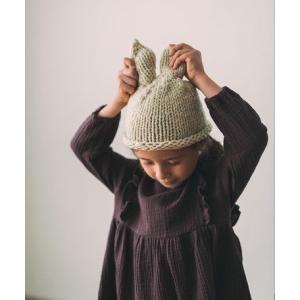 ラビットニットキャップ 【ベージュ】こども 帽子 ニット帽 ラビット うさぎ かわいい ニット キャップ 女の子|ftk-2