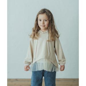 チュール付きフードパーカー 女の子 パーカー おしゃれ チュール かわいい 100 110 120 ジップなし 長袖 綿100%|ftk-2