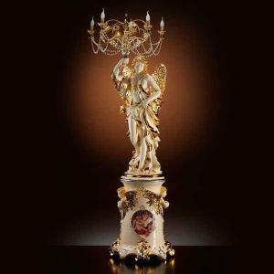 ロココ調 高級セラミック 天女像 エンジェル イタリア製 フロアランプ