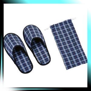 携帯用 スリッパ 巾着袋付 27cm ブルー 旅プラン MT-5018|fubuki