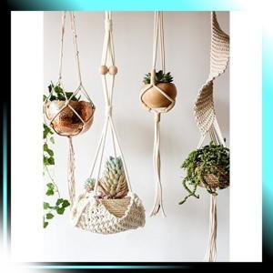 手作り編み植物ストラップ 綿ロープストラップ ホーム飾り 長さ76cm|fubuki