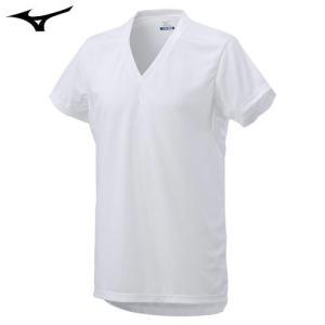 ミズノ(MIZUNO) アイスタッチ エブリ Vネック半袖シャツ 男性用 ホワイト L|fudasho0ban