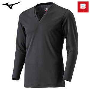 ミズノ(MIZUNO) ブレスサーモ エブリ Vネック長袖シャツ C2JA5601 男性用 ブラック M