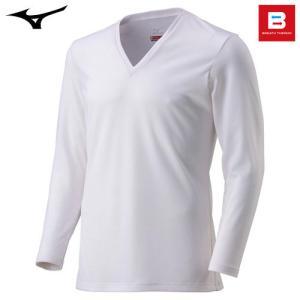 ミズノ(MIZUNO) ブレスサーモ エブリ Vネック長袖シャツ C2JA5601 男性用 オフホワイト LL