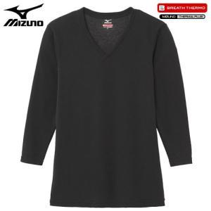 ミズノ(MIZUNO) ブレスサーモ エブリプラス Vネック長袖シャツ C2JA6641 男性用 ブラック LL
