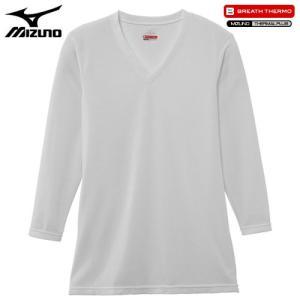 ミズノ(MIZUNO) ブレスサーモ エブリプラス Vネック長袖シャツ C2JA6641 男性用 オフホワイト M