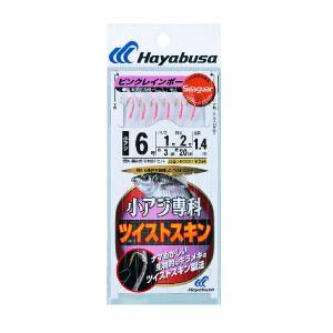ハヤブサ ツイストピンクレインボー HS300 6本鈎 8号 (ハリス 2号) 【10点セット】|fugashop2
