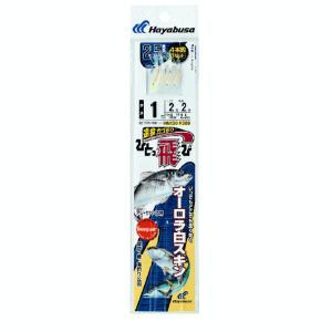 ハヤブサ オーロラ白スキン250cm HN130 4本鈎1セット 3号 (ハリス 3号) 【10点セット】 fugashop2
