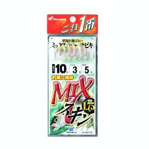 ハヤブサ MIXスキンサビキ 6本鈎 6本鈎1セット HS712 9号(ハリス 3号)【10点セット】|fugashop2