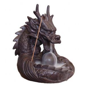 香炉 ドラゴン 倒流香用 お試しお香付き 流川香 陶器製 龍 竜