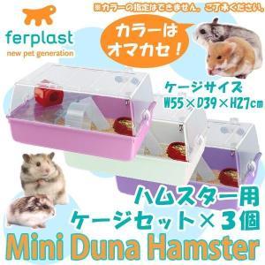 ferplast(ファープラスト) ハムスター用ケージセット ミニデュナハムスター(色おまかせ) ×3個セット 57075499