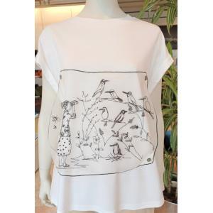 クチーナ刺繍シルクオーガンジー付き白Tシャツ|fuji-patio