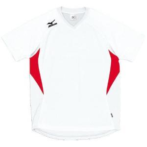 ドッジボール専用 ゲームシャツ ミズノ A62HY-144 ホワイト×レッド MIZUNO JDBA|fuji-spo-big5