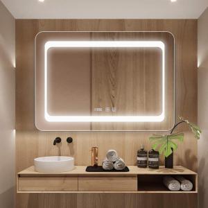 Bacoer ミラー 鏡 LED 壁掛け 照明付き 化粧鏡 洗面所 洗面台 おしゃれ(70×50cm)|fujibeni
