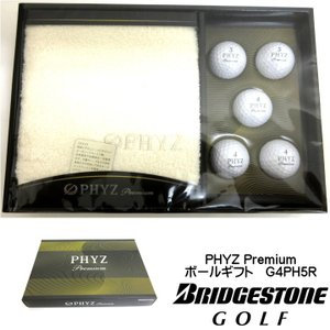 ブリヂストン PHYZ Premium G4PH5R ゴルフボールギフトセット ファイズ プレミアム ボール5個 今治フェイスタオル1枚 日本製【ゆうパケット不可】|fujico