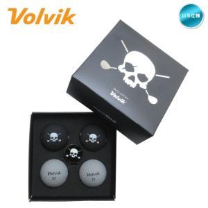【9/30迄クーポン対象】2019 ボルビック Volvik VIVID 限定 Skull Edition ブラック グレー (ゴルフボール4球・マーカー) (四角箱) US仕様「あすつく対応」|fujico